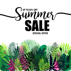 poster summer sale on a trendy tropical background, exotic palm bouquet. Card, label, flyer, banner design element. Vector illustration