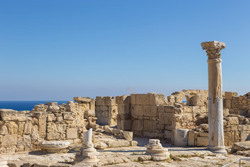 View of the ancient ruins of the city - state Kourion in Limassol,  Cyprus