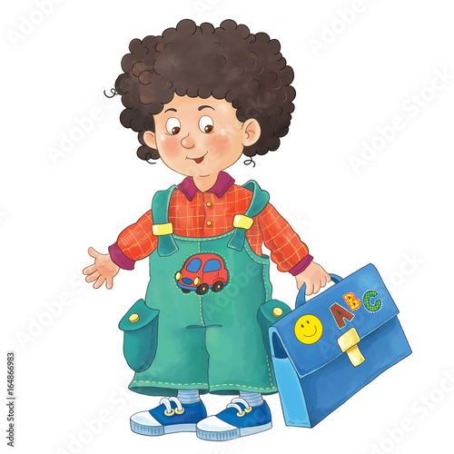 Back to school. A cute schoolboy. Coloring page. Illustration for ...