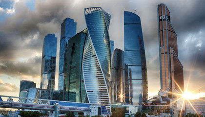 The evening sky in Moscow City. The center of business in Russia. Conduction of financial transactions. Moscow Russia.