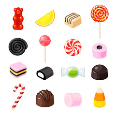 Set single cartoon candies: lollipop, candy cane, bonbon, marmalade teddy bear, licorice, candied fruit. Vector collection of flat icon illustration, isolated on white.