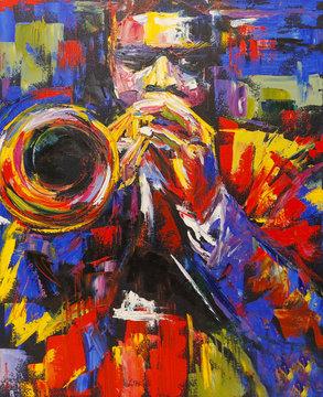 Colorful jazz trumpeter illustration