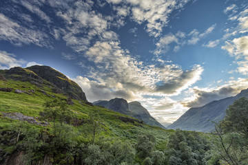 Afternoon view of the valley next to Bidean Nam Bian in Scotland.