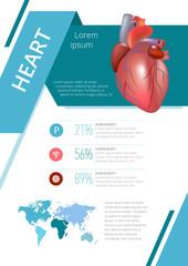 Internal human organs infographic heart