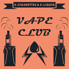 Vape club emblem design. Vape e-cigarette logo. Vector illustration.