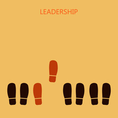 leadership concept. Red leader's shoe prints. Vector illustration