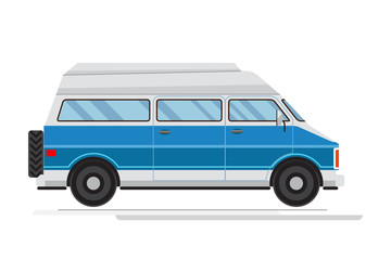Passenger blue Van Mini Bus vector.