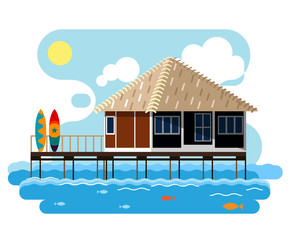 Simple drawing of wooden bungalow with surfing boards.
