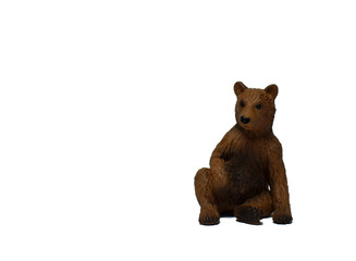 Bear on a white background. Brown bear isolated on white background. Sitting bear image