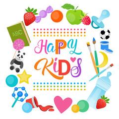 Happy Kids Logo Kindergaten Or School For Cheerful Children Banner Flat Vector Illustration