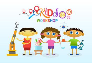 Art Classes For Kids Logo Creative Artistic School For Children Banner Flat Vector Illustration