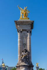 Paris, pont Alexandre III, golden statue on the bridge