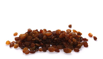 Pile of raisins isolated on white background