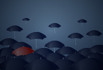 Red Umbrella Standing Out Of Crowd Individuality Concept Flat Vector Illustration