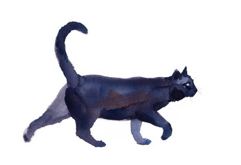 Black Cat Walking Watercolor Hand Drawn Pet Portrait Animal Illustration