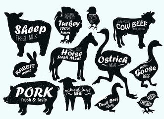 Farm animals logo vintage textured templates. Retro styled animals silhouettes of horse, turkey,cow, chicken,cow,sheep, ostrich, goose, duck, pork, lamb and rabbit.