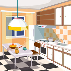 Vector cartoon illustration of a retro kitchen interior with kitchen cabinets, a dining table with a cup of hot coffee and fruits, a refrigerator, a cooker, a kitchen hood and kitchen sink