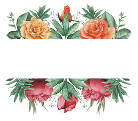 Hand painted watercolor charming combination of Flowers and Leaves, isolated on white background, Perfect for wedding,frame,quotes,pattern,greeting card,logo,invitations,lettering etc