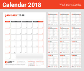 Calendar Template for 2018 Year. Business Planner 2018 Template. Set of 12 Months. Stationery Design. Week starts on Sunday. Vector Illustration