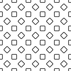 Seamless abstract monochrome rounded square pattern background design - halftone geometric vector graphic