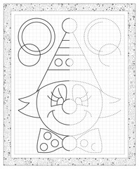 Black and white worksheet on a square paper with exercise for little children. Vector image.