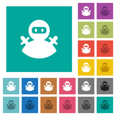 Ninja avatar square flat multi colored icons