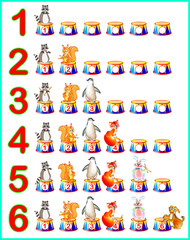 Educational page for children with numbers. Developing skills for counting. Vector cartoon image.