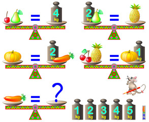 Logic puzzle game. What is the weight of the carrot? Vector  cartoon image.
