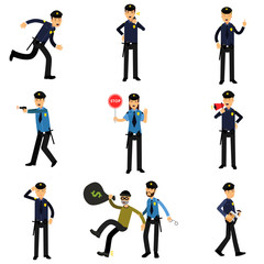 Policeman characters at work set, policemen doing their job vector Illustrations