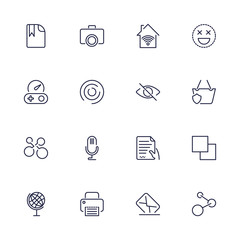Universal web icons to use in web and mobile UI, set of basic UI web elements file, printer, mail, game, basket, camera and other. Editable stroke