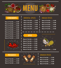 Vector illustration of a menu with a special offer of various herbs, spices, seasonings and condiments on a black background. Template, design element for restaurant, cafe