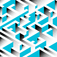 Abstract background in isometric style. A geometric maze.