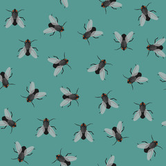 Seamless pattern with flies