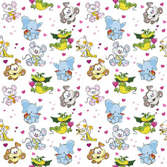 Cute animals in different colors seamless pattern