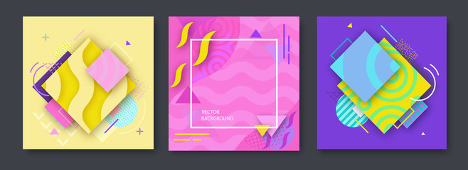Abstract color posters set in trendy style with geometric shapes, triangle, lines, frame, fashion bright background, template for banner, cover, invitation, flyer, vector illustration