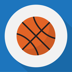 Vector Illustration Of Training Symbol On Basketball Flat Icon. Premium Quality Isolated Ball Element In Trendy Flat Style.