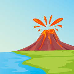 Clip art illustration of tropical island with lava flowing and smoking volcano