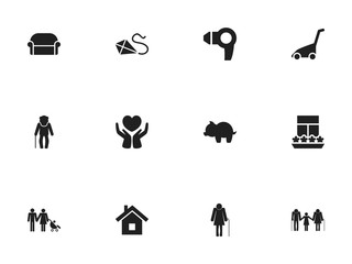 Set Of 12 Editable Folks Icons. Includes Symbols Such As Moneybox, Family, Canape And More. Can Be Used For Web, Mobile, UI And Infographic Design.