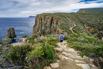 Man hiking towards Fortescue Bay, Cape Hauy, Tasmania, Australia