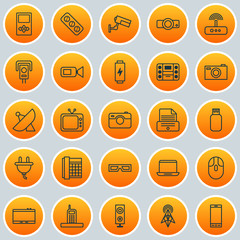 Hardware Icons Set. Collection Of Antenna, Usb, Switch And Other Elements. Also Includes Symbols Such As Phone, Mp3, Socket.