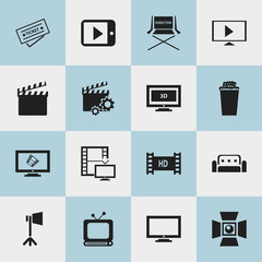 Set Of 16 Editable Filming Icons. Includes Symbols Such As Popcorn, Monitor, Start Video And More. Can Be Used For Web, Mobile, UI And Infographic Design.