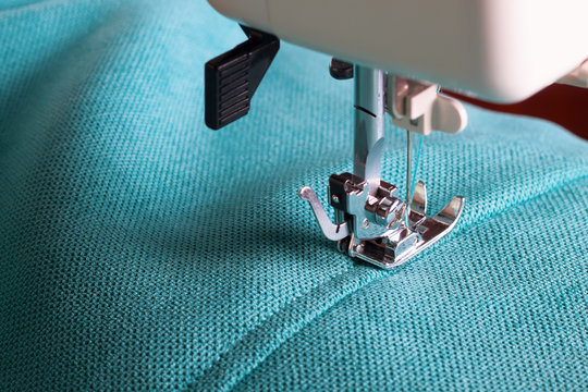 sewing machine and turquoise fabric