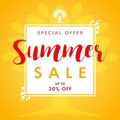 Summer SALE leaves and tree frame banner. Summer Sale vector banner with text special offer and beautifal leaf border design