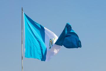 Guatemala flag, national symbol, waving on the wind