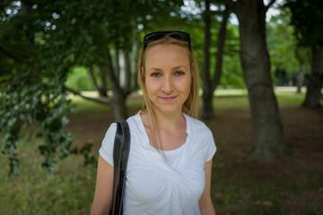 blonde girl in Frankfurt Park