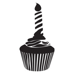 Isolated silhouette of a cupcake, Vector illustration