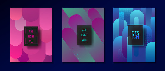 Brochure covers set - Magenta, Turquoise Stone color collection. Modern Design for Gallery Exhibition catalog cover, business brochure, poster, banner, business card, envelope template. Pop Art Vector