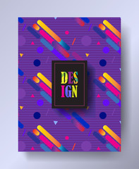Brochure cover - Hipster color collection. Modern Art Design for Gallery Exhibition catalog cover, business brochure, poster, banner, business card, envelope template. Dynamic geometric pattern Vector
