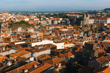 Top view of old town Porto, Portugal.