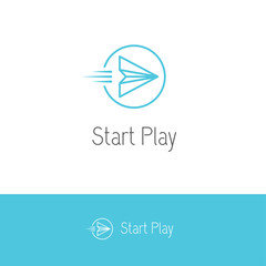 Paper plane looking like a play or start button